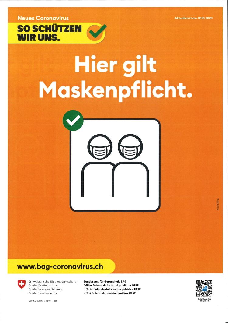 Auf der Gemeindeverwaltung Rifferswil gilt Maskenpflicht
